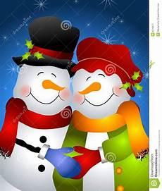 Malvorlage Schneemann Und Schneefrau Umarmen Schneemann Paaren 2 Stock Abbildung