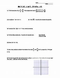 algebra 1 review worksheets 8568 algebra review worksheet 3 includes answer key by mrs j s math corner