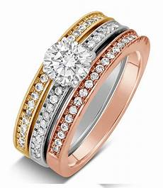 tri gold wedding rings 2 carat cut tri color white rose and yellow gold trio wedding ring jeenjewels