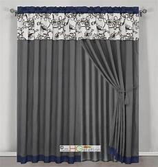 vorhang grau blau 4 stripe oasis floral garden curtain set blue gray brown
