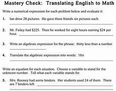 writing expressions equations 5th grade worksheets individualized math