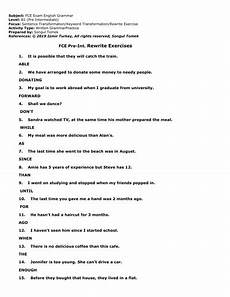 exercises b1 18794 fce sentence transformation exercises all b1 grammar points pre intermediate grammar review