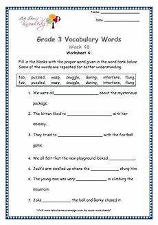 grade 3 vocabulary worksheets week 48 lets share knowledge