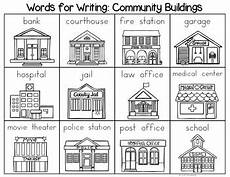 places in community worksheets 15955 community buildings word list writing center by the kinder