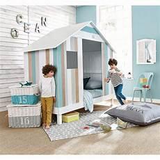 Lit Cabane Enfant 90x190 Blanc Et Bleu Oc 233 An Maisons Du