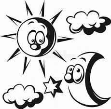 sonne comic schwarz weiß sun moon cloud and black outline stock vector