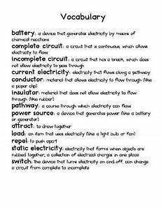 electricity vocabulary by queen of the kindergarten jungle tpt