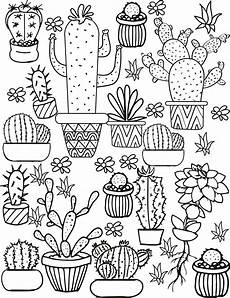 Cactus Plant Coloring Pages Cactus And Succulent Printable Coloring Pages