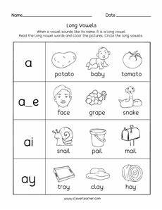 long vowel sounds worksheets for preschool and kindergarten kids