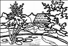 Malvorlagen Landschaften Gratis Haus Mit Teich Ausmalbild Malvorlage Landschaften