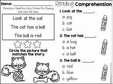 kindergarten reading comprehension for beginning readers