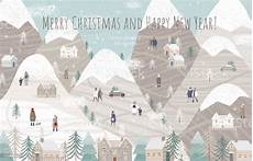 merry christmas and happy new year vector illustration of a winter natural landscape with