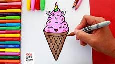 Dibujando Y Coloreando Un Helado Unicornio Kawaii