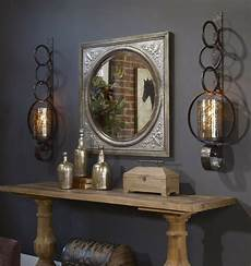 two large 39 quot rust brown metal mercury glass wall sconce candle holder hurricane ebay