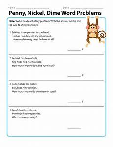 penny nickel dime word problems worksheet education com