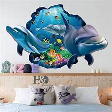 3d sticker 3d ocean dolphin removable vinyl decal wall sticker art