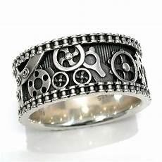 mens bike chain gear ring steunk sterling silver