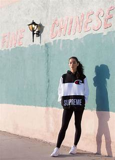 supreme clothing womens adrianne ho wearing supreme x chion hooded sweatshirt