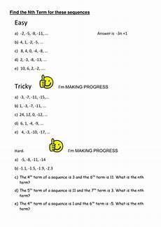 differentiated worksheet nth term by uma07072004 teaching resources tes