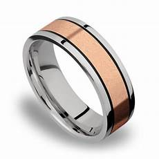 14k rose gold inlay men s wedding band in titanium