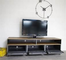 meuble tv industriel bas m 233 tal et bois 180cm industriel