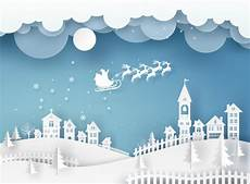 premium vector merry christmas card in winter landscape with houses and building and santa