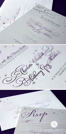leonie gordon london luxury lilac and silver letterpress stars and calligraphy wedding