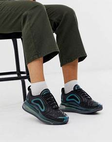 nike air max 720 trainers in black and iridescent blue asos