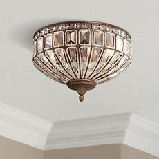 vienna full spectrum ceiling light flush fixture square cut crystal mocha brown 15 5 quot wide
