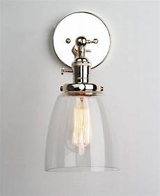 permo industrial edison antique single sconce with oval cone clear glass shade 1 light wall