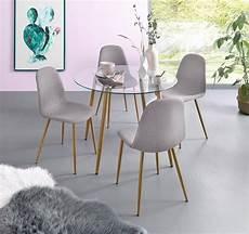 essgruppe mit stühlen essgruppe runder glastisch mit 4 st 252 hlen webstoff
