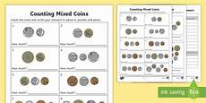 counting money worksheets reception 2314 counting mixed coins worksheets made