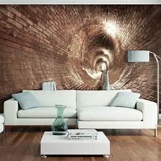 3d wandbilder wohnzimmer vlies fototapete tunnel ziegel grau 3d effekt tapete