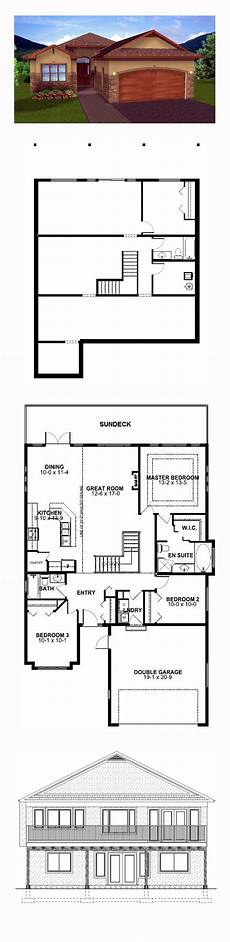 house plans walkout basement hillside hillside home plan 99970 total living area 1450 sq ft