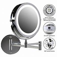 ovente wall led lighted makeup mirror battery