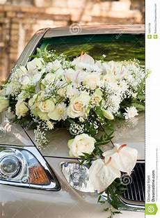 flower bouquet on wedding car stock photo image of