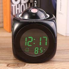bedside alarm clock digital lcd wall projection voice talking temperature display led multi