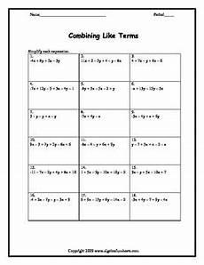 algebra worksheets combining like terms 8345 combining like terms two variables worksheet by algebra funsheets