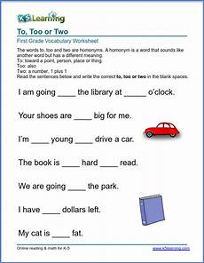 use of to too or two k5 learning