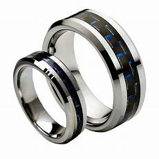 tungsten carbide wedding ring sets his hers 8mm 6mm tungsten carbide blue black carbon fiber