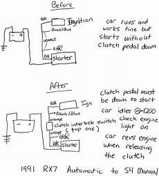 clutch safety switch wiring diagram strange problem when wiring in the clutch interlock switch rx7club mazda rx7 forum