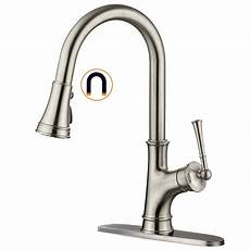 magnetic kitchen faucet appaso single handle magnetic kitchen faucet with pull sprayer high arc pull out