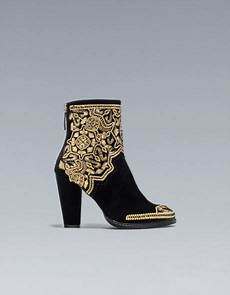 zara gold embroidered highheel ankle boot in gold black