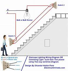 two switch light circuit diagram how to control a l light bulb from two places using two way switches for staircase lighting