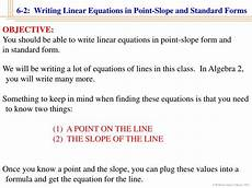 ppt 6 2 writing linear equations in point slope and
