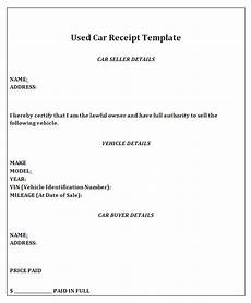 receipt of sale for a car