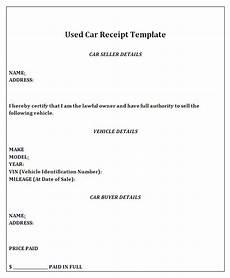 used car receipt template receipt of sale for a car
