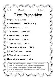 preposition of time worksheets for grade 3 3491 worksheet on time preposition your home