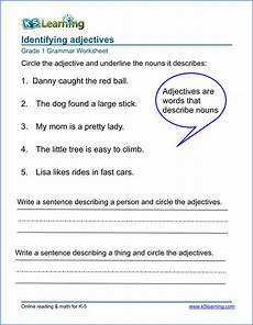grammar worksheets for grade 1 adjectives 25163 adjective worksheets for elementary school printable free k5 learning