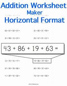 addition worksheets horizontal format 8880 addition worksheet horizontal format stem sheets